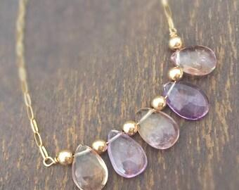 Ametrine Necklace - Purple and Yellow Jewelry - Bead Bar - Gold Chain Jewelry - Gemstone - Amethyst - Citrine