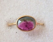 Watermelon tourmaline and solid 18k gold ring