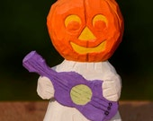 Pumpkin Ghost Playing Guitar, Folk Art, Halloween, Rustic, Made in Ohio,Robin Arnold, Guitar, Ukelele, Whimsical,woodcarving, Ghost, Pumpkin