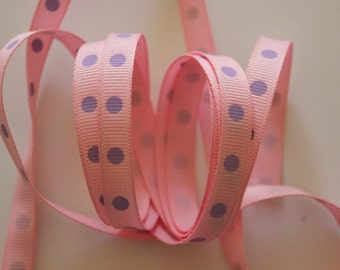 "3/8"" Dotted Grosgrain Ribbon - Pink with Lavender Dots - 5 yards"