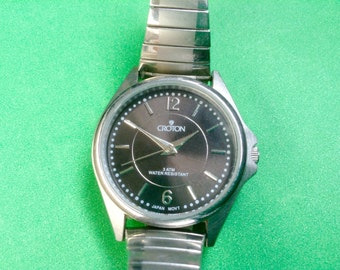 CROTON women's watch  Womens Wrist Watch charcoal dial runs great!