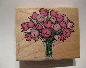 Hero Arts Wood Mounted Rubber Stamp - Vase of Tulips