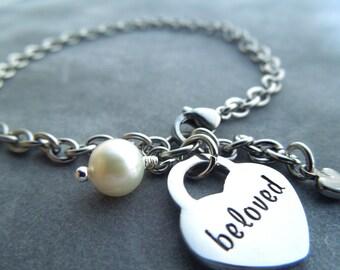 Beloved bracelet, hand stamped stainless steel, heart lock