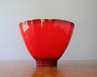 Mid Century Ceramic / Pottery Bowl Vivid Red / Turquoise