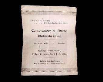 Westminster College PA Conservatory of Music Class of 1896 Ludwig Van Beethoven Piano Recital Program Antique College Paper Ephemera