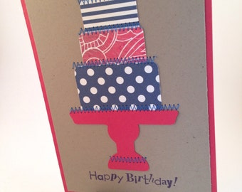Happy Birthday-Happy Birthday Cake Greeting Card, Handmade Card