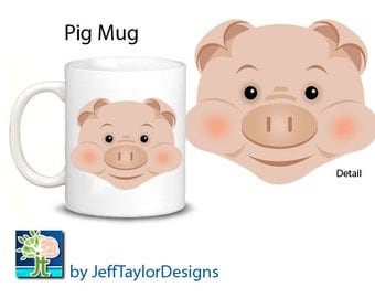 Cute Pig Coffee Mug with or without sunglasses!