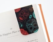 Magnetic Bookmark Laminated Page Marker Sugar Skulls Day of the Dead Dia de los Muertos Teal Red Yellow Black