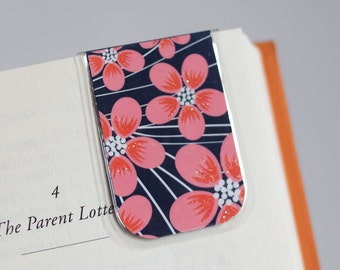 Laminated Bookmark, Magnetic Bookmark, Blue Salmon White, Glitter Bookmark, Salmon Pink Flowers