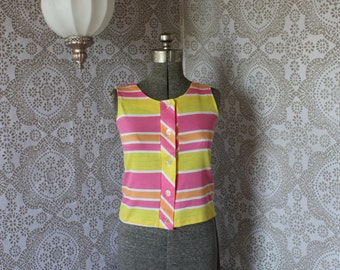 Vintage 1950's 60's Pink and Yellow Striped Button Front Tank Top Medium