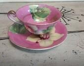 Tea Cup Porcelain Teacup Floral Tea Cup Marked Japan Handprinted Teacup Tea Cup and Saucer Pink Tea Cup Dainty Tea Cup Cottage Chic