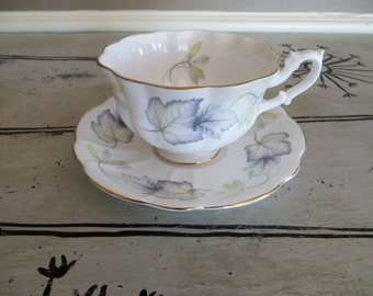 Tea Cup Porcelain Teacup Royal Albert Bone China Teacup and Saucer Leaves Green and Purple Housewarming Gift Tea Service Autumn Maple Leaves