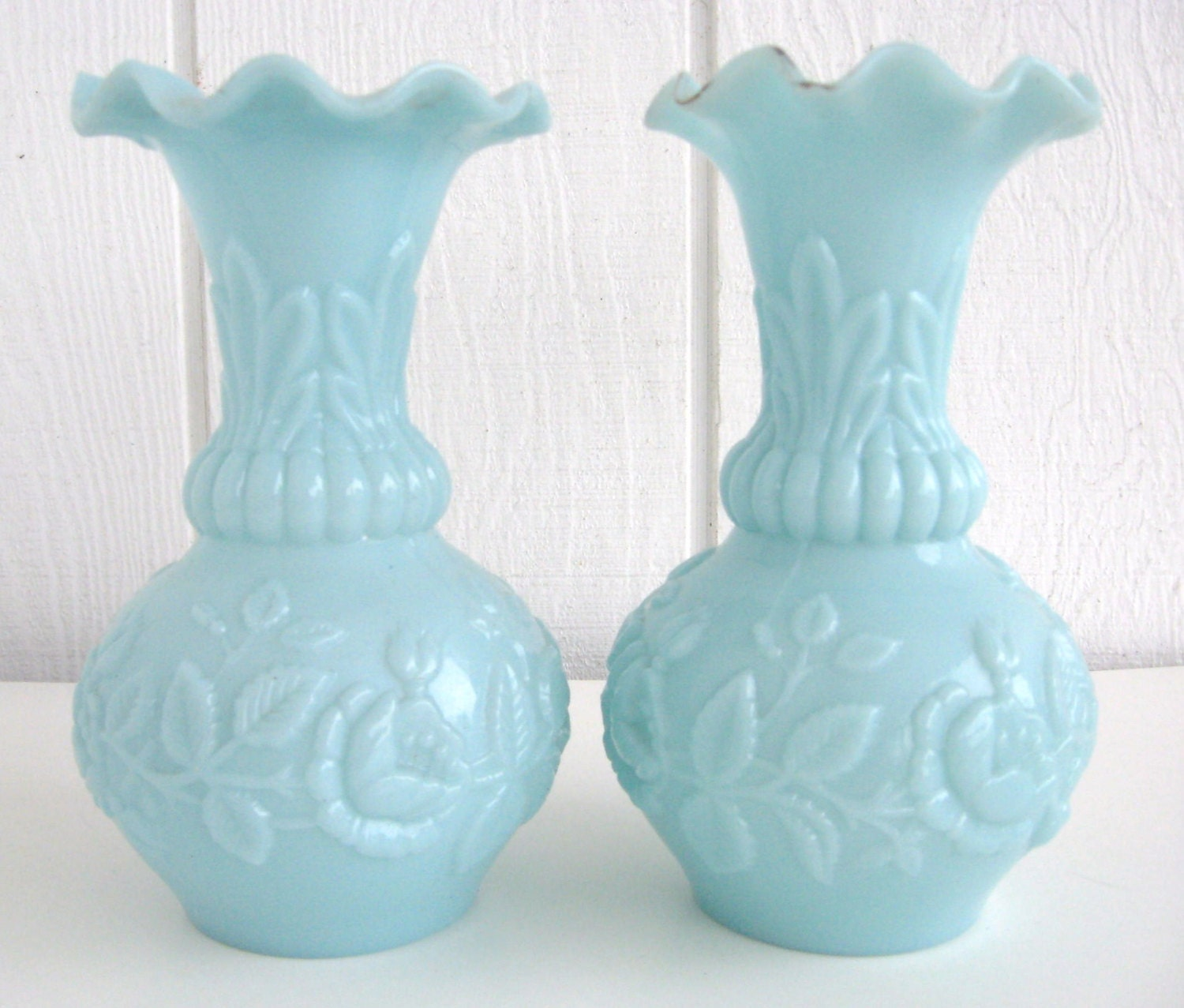 Antique French Portieux Vallerysthal Vases Victorian Blue Milk