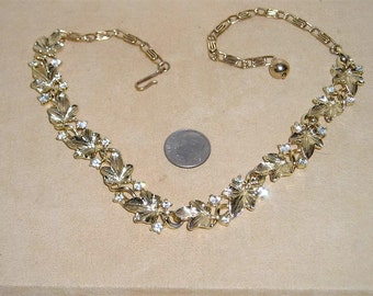 Vintage Lisner Rhinestone Leaf Necklace Choker 1960's Signed Jewelry 8023