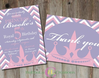 Princess Birthday Invitation and matching Thank You. Personalized Princess Invite. Princess Birthday. Custom Birthday Invitation.
