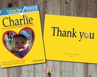 Personalized Cheerios Birthday Invitation with matching Thank You