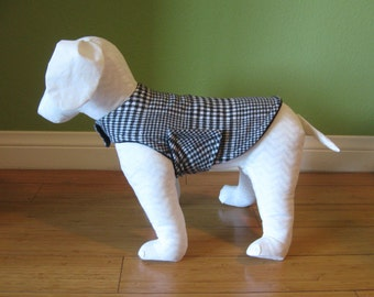 Fleece & Flannel Dog Jacket, Extra Small, Black, and White Glen Plaid Cotton Flannel with Black Fleece Lining