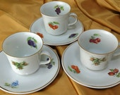 Set of 3 Fruit Demitasse Cups and Saucers -  Golden Crown E&R 1886 Jaeger? Co China - Bavaria Germany - Vintage