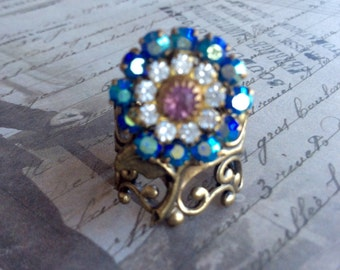 Rings For Women, Vintage Ring, Flower Ring, Rose Ring, Adjustable Ring, Swarovski Crystal Ring