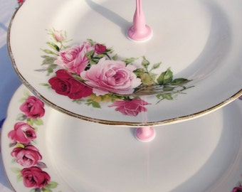 PRETTY IN PINK, 3 tier, Cake Stand, Recycled vintage plates, white and pinks, wedding, tea party, vintage flower bouquet, garden party