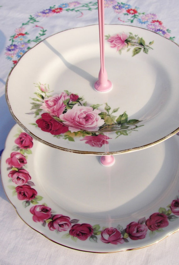 Pretty in pink 3 tier cake stand recycled vintage plates for Pretty cake stands