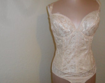 Vintage Bustier Body Briefer Shaper Corset by Carnival Peach Size 38D