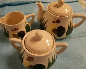 Rooster Chicken  Tea Set Vintage Creamer Sugar  Little Teapot 5pc Set Mid Century Decorative Farmhouse Kitchen
