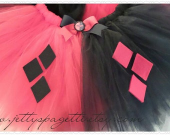 Harley Quinn Inspired Tutu- Black/Red or Blue/Red Cosplay Costume  tutu