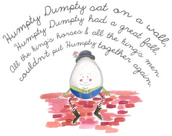 Humpty Dumpty Watercolor Print