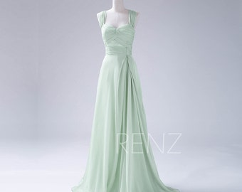 Bridesmaid Dress Dusty Mint Prom Dress,Double Straps Long Chiffon Party Dress, Ruched Evening Gown,Sweetheart  Maxi Dress (F108)-Renzrags