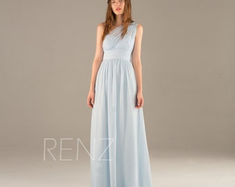 2016 Light Blue Bridesmaid Dress Long, Chiffon Maxi dress, Ice Blue One Shoulder Wedding Dress, Asymmetric Backless Party Dress (T112A)-RENZ