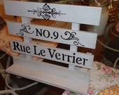 French chic book, Picture wood easel with French script writing.