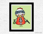 Bubblegum Bandit Frameable Illustration Print by Buck and Libby