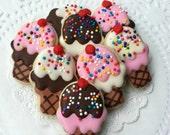 Mini Ice Cream Cone Decorated Sugar Cookies - 3 Dozen