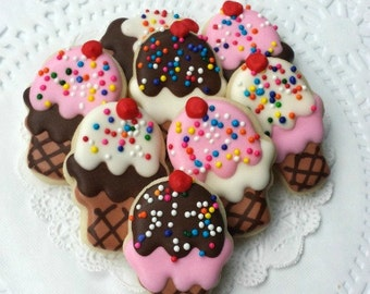 Mini Ice Cream Cone Decorated Sugar Cookies - 3 Dozen