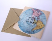 Werth Y Byd Yn Grwn Welsh Large Badge World Blank Eco Friendly Art Square Greeting Card