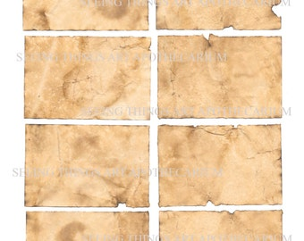 Singed n' Scrunched Old Paper Labels - Set of Eight - Digital Download