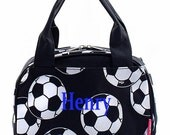 Personalized Canvas Soccer Pattern Lunch Tote - Boys Insulated Lunch Box - Monogram FREE