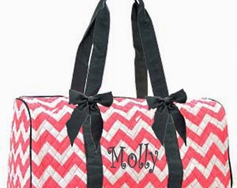 Personalized Quilted Large Chevron Duffel Bag Gym Dance or Overnight Bag Coral with Gray Trim - Monogram FREE- Zig Zap Pattern