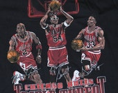 Vintage 1990s Chicago Bulls Triple Threat Michael Jordan T-Shirt NEVER WORN