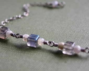 Beaded Labradorite Bracelet, Natural Gemstone Bracelet, Ready to Ship