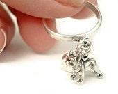 I Heart My Mini Boston Terrier - Sterling Silver Dangle Dog Lover Charm Ring