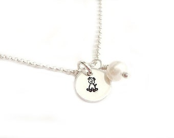Give A Dog A Bone  - Handstamped Jewelry in Sterling Silver - Ready to Ship