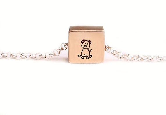 Portrait of a Puppy - Free Floating Tiny Square Brass Necklace Pendant Handstamped