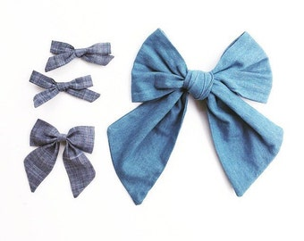 Wiselooks and Free Babes Chambray bow pack
