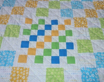Baby Quilt Blue Green Yellow