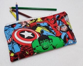Super Hero2 print Pencil Case/ Crayon Case/Makeup Bag/ Cosmetic Case/ Ready to Ship
