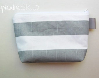 Gray and white striped makeup bag - bridesmaid gift - cosmetic case - solid gray interior
