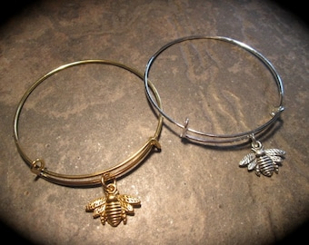 Bee bracelet in gold or silver adjustable bangle bracelet