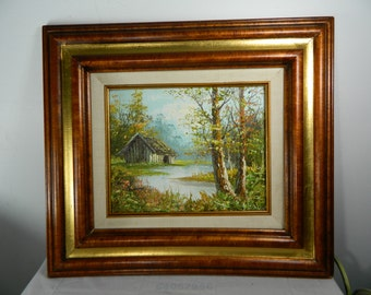 Vintage Original Oil Painting Artist J Medina Framed Cabin Painting Textured Oil Painting On Canvas Fall Colors Cabin